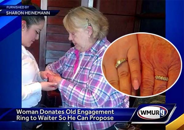 N.H. Granny Gives Up Her Own Engagement Ring So Young Waiter Can Propose to His Girlfriend